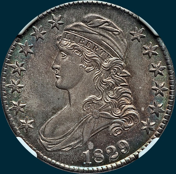 1829 O-103, capped bust half dollar