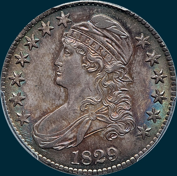 1829, O-107, Capped Bust, Half Dollar