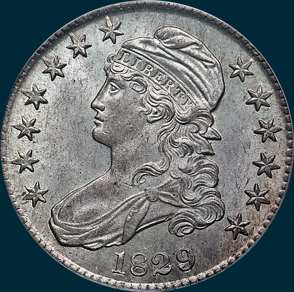 1829 O-117, capped bust half dollar