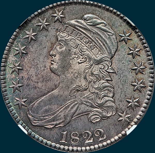 1822, O-104, Capped Bust, Half Dollar