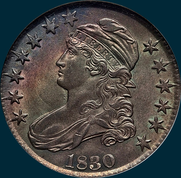 1830 O-114, small 0 large letters, capped bust half dollar