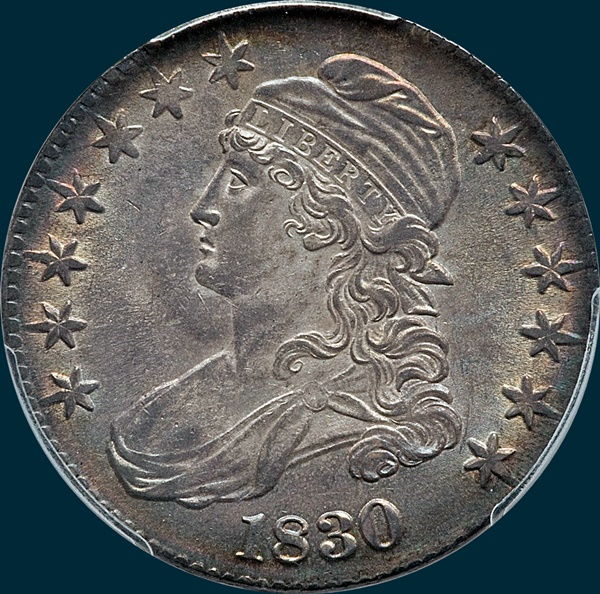 1830 O-121, large 0, capped bust half dollar
