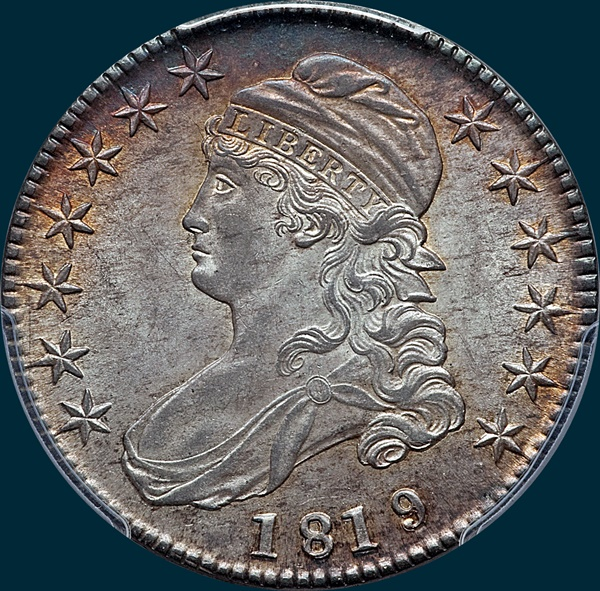 1819, O-101, Small 9 over 8, Capped Bust, Half Dollar
