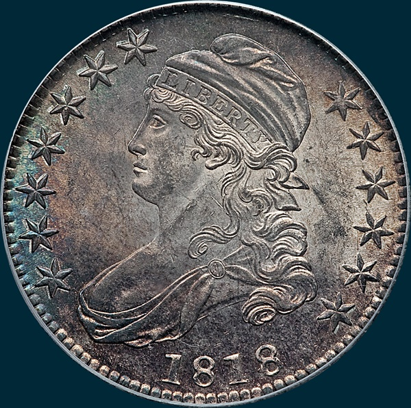 1818, O-107, Capped Bust, Half Dollar