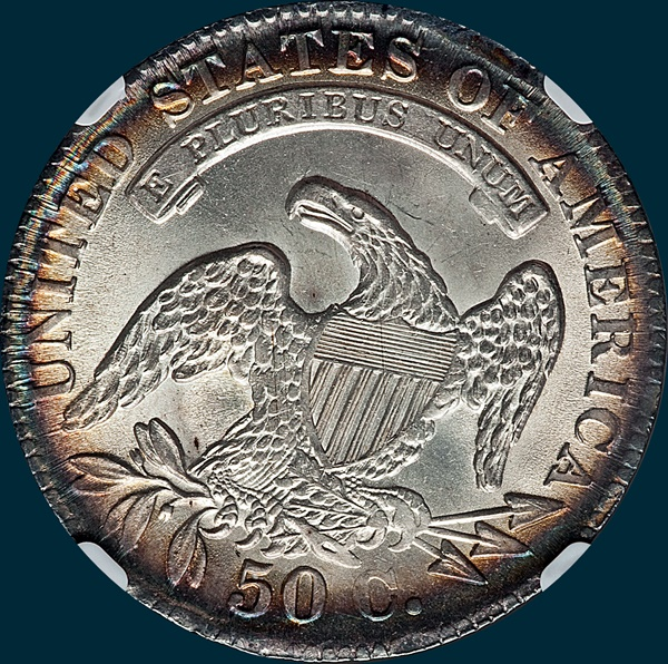1833 O-103, capped bust half dollar