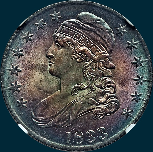 1833 O-108, capped bust half dollar