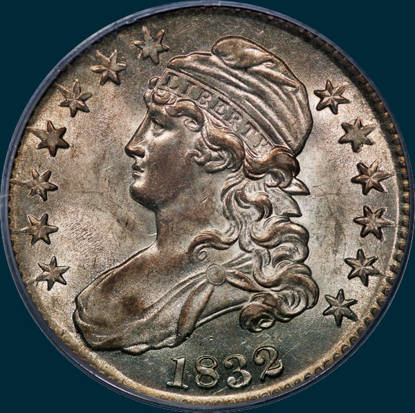 1832 O-109 capped bust half dollar